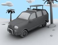 Cartoon van (clay render)