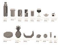 Calories per bit: Pixel Art Food Information Graphic