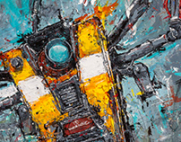 Claptrap - Mixed media on canvas (2018) - Sold