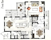 Real Estate Watercolor 2D Floor Plans Part 1
