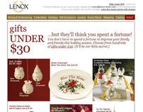 Lenox.com gifts under $30 holiday email
