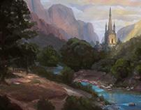 Forest Castle- Fantasy Environment Concept Art practic