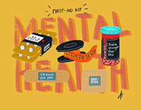 Mental Health First-Aid Kit & Hygiene Illustration