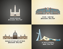 African Landmarks illustrations