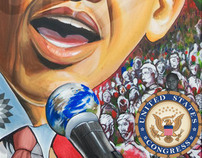 Congressional sealed Barack Obama painting (acrylic)