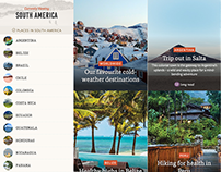 Conde Nast Traveller UK - Continent List page designs.