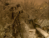Snow fell, and day and night.