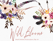 Hand Painted Watercolour Clip Art-Wild Blooms