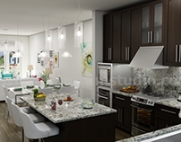 Unique Kitchen-Living Render
