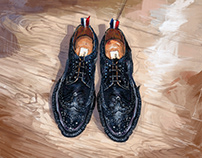 Thom BrownePebble-Grain Leather Longwing Brogues