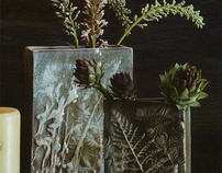 Embossed botanical stoneware