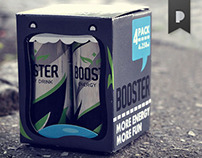Booster energy drink 4 pack box