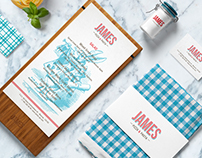 Logo and corporate style design for the James restauran