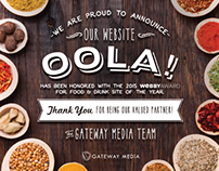 Oola Webby Award Partner Thank You Insert