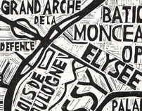 Typographic Linocut Map of Paris