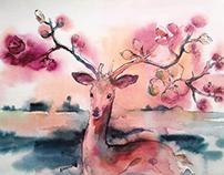 Annihilation Inspired Deer Watercolor Painting