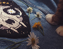 Cat skull embroidery