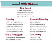 Portfolio Book: Cover, Contents page, & spread layout