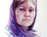Женский портрет акварелью
