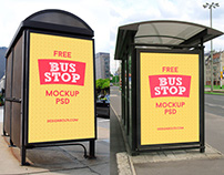 Free HQ Outdoor Advertising Bus Shelter Mock Up PSD
