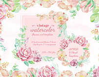 Vintage Watercolor Flowers and Templates