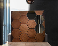 Wooden wall covering Mosaic Honey Mirror