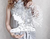Paper cut flowers head