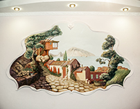 """""""Crimean Landscape"""" bas-relief in the decorative frame"""