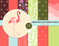 Flamingo Digital Paper and Flamingo Illustration
