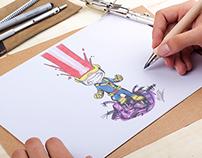 Ilustração de personagens da  Marvel e DC Comics