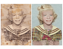 Restoration and colorisation of a photograph of a girl