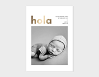 Birth Announcement Card Template - Hola
