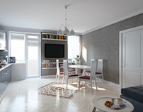 Concept design of the open-space kitchen-living room