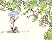 Rain Forest Monkey Art - Freehand Drawn Illustration