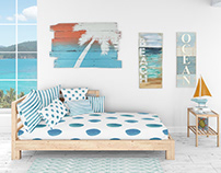 Pillows & Frames Set - Coastal Style