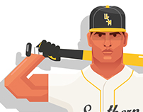 Southern Miss Basebal Illustration