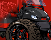 Custom Golf cart illustration for Chicago Pneumatic