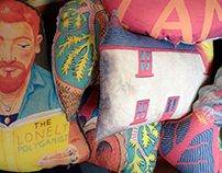 Illustrated cushions, digitally printed