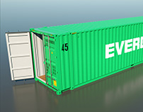 Shipping Container 45HC Rigged 3D High Poly