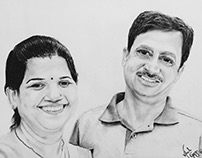 Photo realistic charcoal sketch of Mom Dad