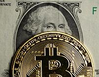 A dollar bill and a bitcoin
