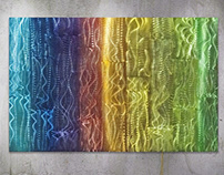 "Colored Columns 2 - etched aluminum - 36"" x 24"""
