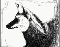 Digital sketch of a wolf