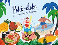 AKI x Poké doke Illustration 餐厅品牌主视觉插画创作