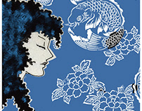 Woman with blue fish