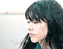 Low-poly illustration of Erika Karata.
