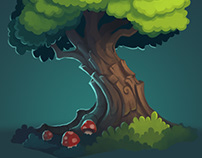 Magic trees, rocks and a witch cauldron