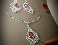 Ruby earrings and necklace