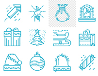 Merry Christmas and Happy New Year. Free line icons