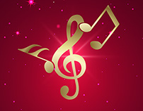 Abstract musical note poster